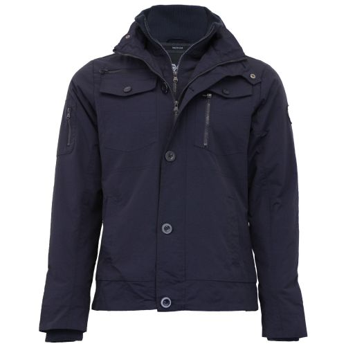 Crosshatch Quality Super Military Navy Padded Mens Double Zip Coat Jacket